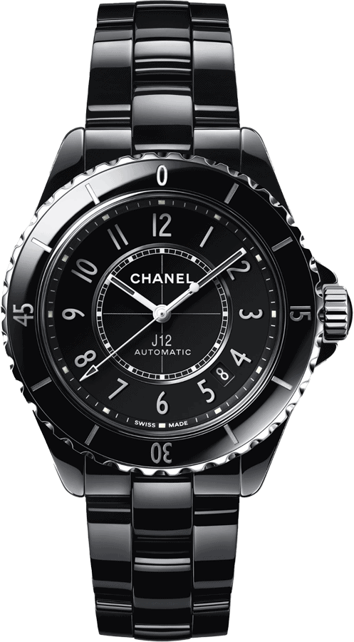 Front view of Chanel J12 black