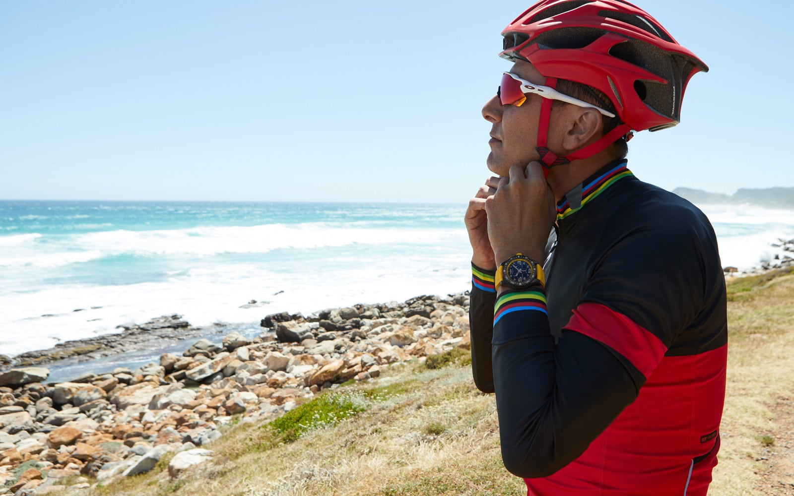 Man wearing cycling clothes and Breitling Endurance Pro