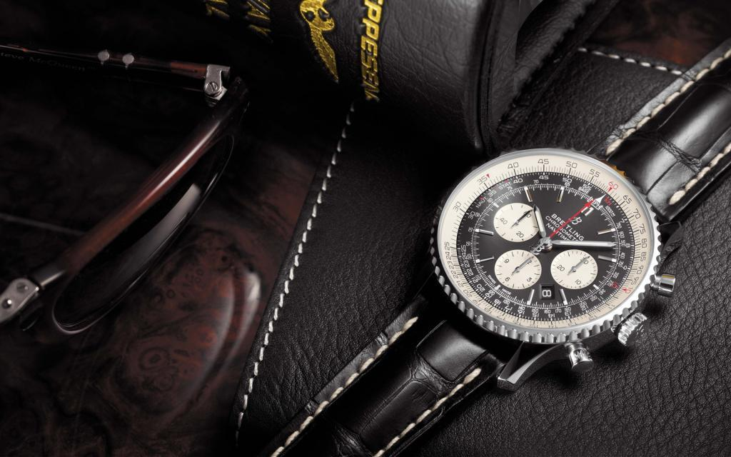 Breitling Navitimer on a leather background